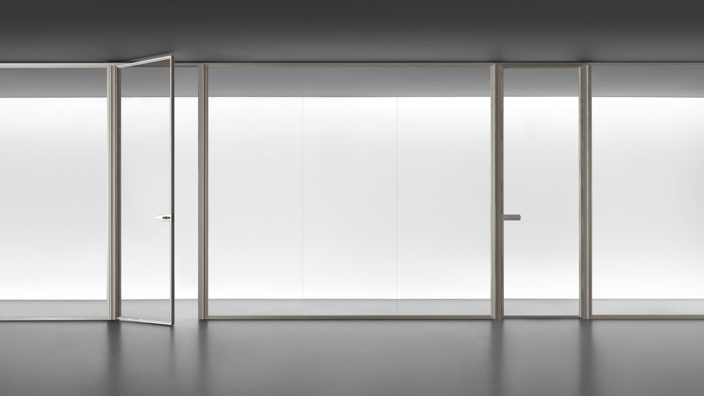 Sistema spazio de Rimadesio con puerta abatible Zen