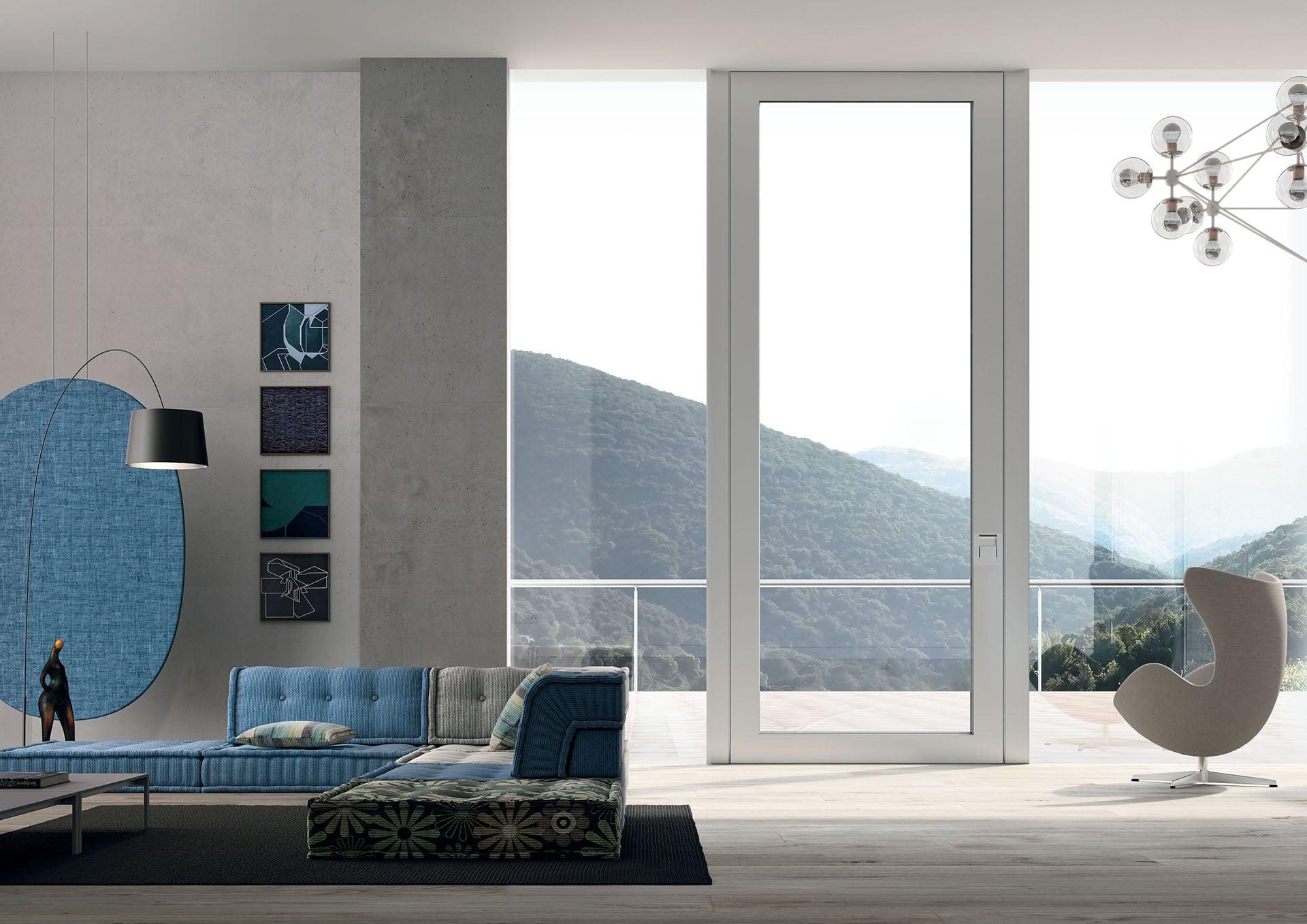 puerta blindada serie Nova de Oikos en vidrio